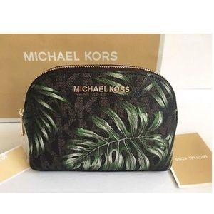 Michael Kors Jet Set Palm Leaf Cosmetic Bag
